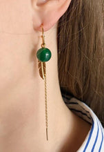 Creol green agate, feather and chain