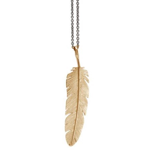Feather pendant large Goldplated
