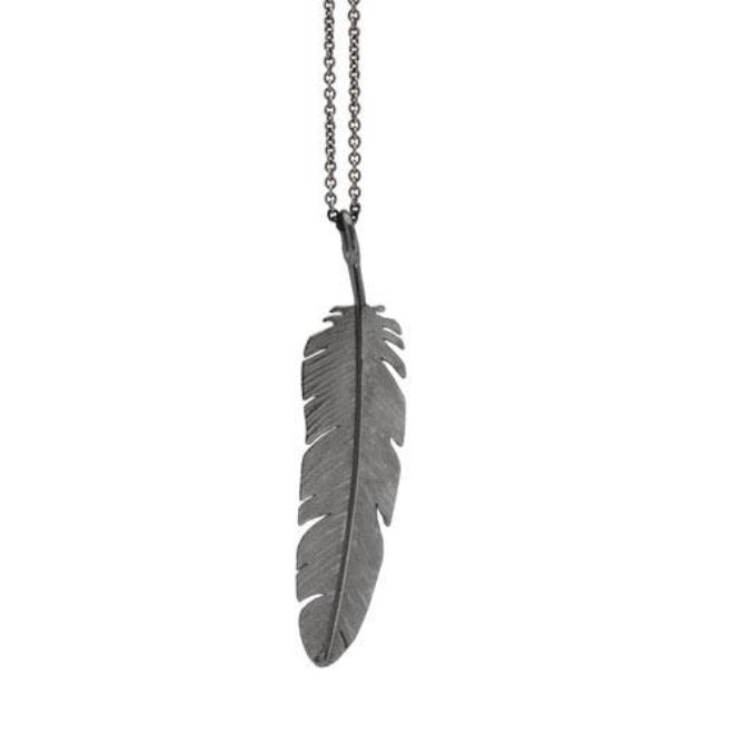 Feather pendant large Oxidized