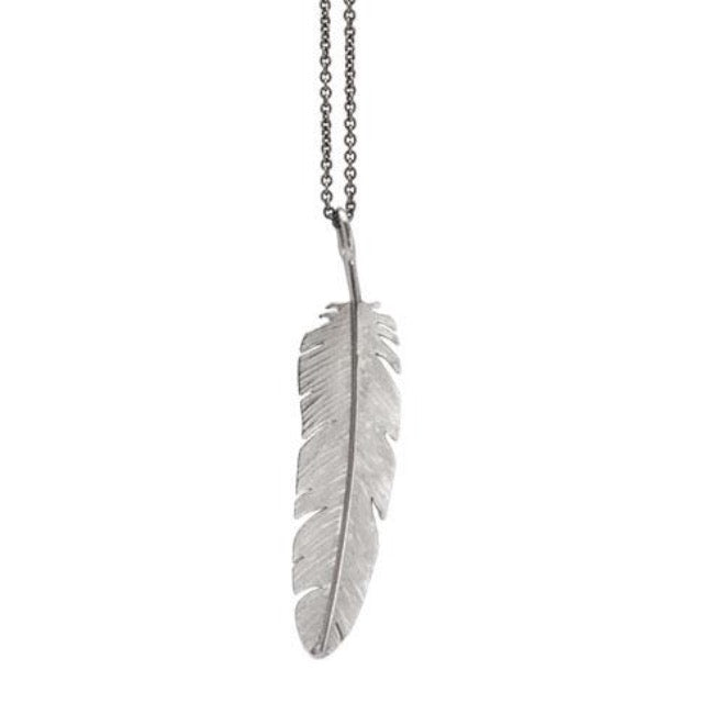 Feather pendant large Rhodium plated