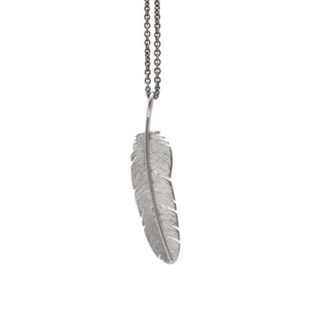 Feather pendant medium Rhodium plated