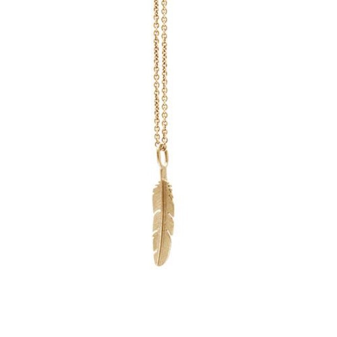 Feather pendant small goldplated