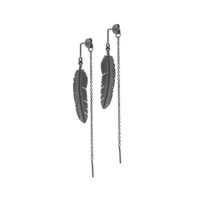 Feather earring with chain