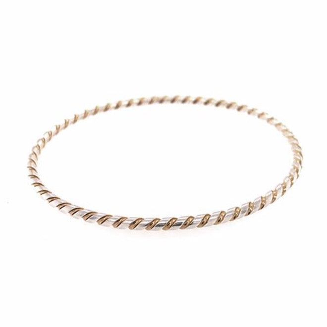 Twisted bangle silver/goldplated