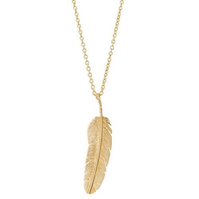 Gold Feather pendant medium