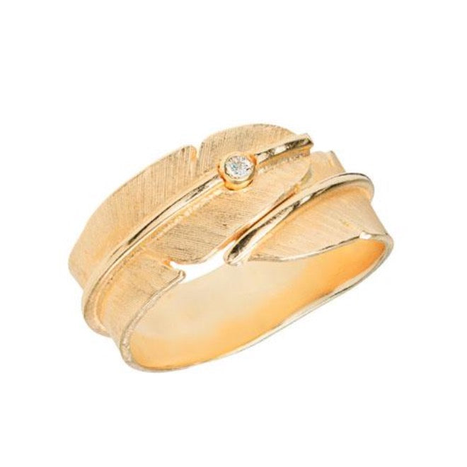 Gold Feather ring with diamond
