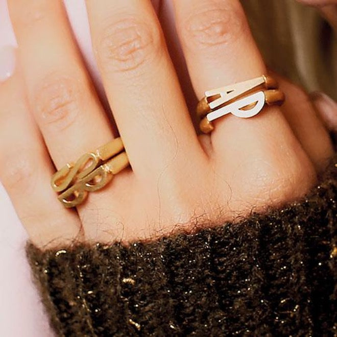 Initials ring Heart