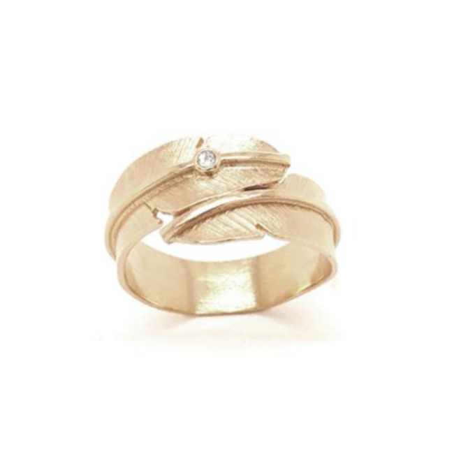 Feather ring small with diamond