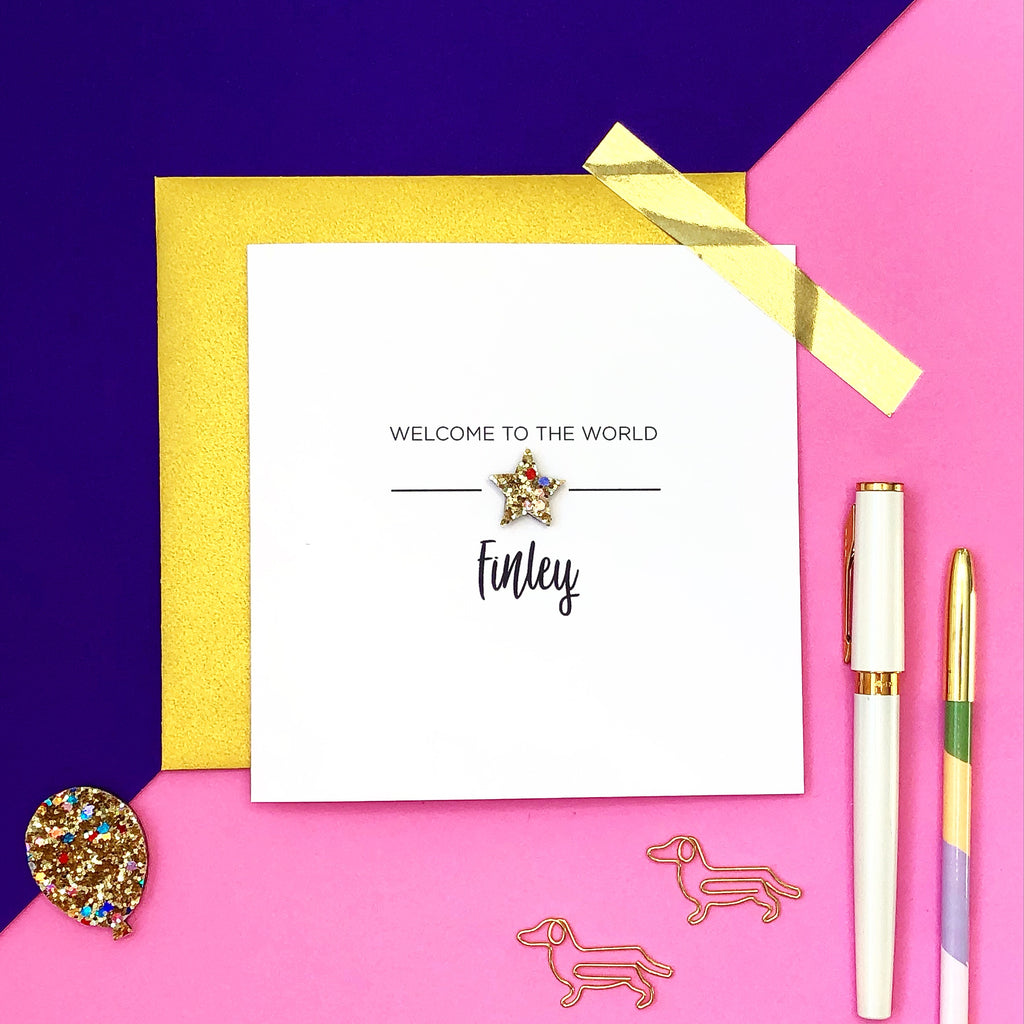 Personalised glitter star New baby card - welcome to the world