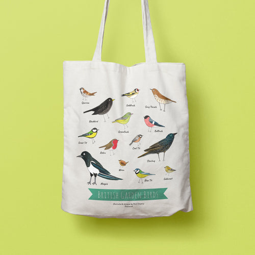 SECONDS SALE Illustrated Garden Birds tote bag