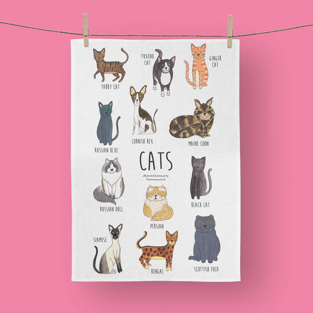 Illustrated cat breed tea towel