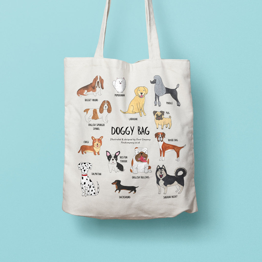 Doggy bag - illustrated Dog tote bag