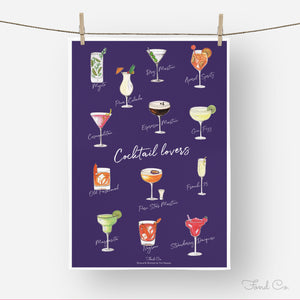 Cocktail lovers illustrated cocktail tea towel