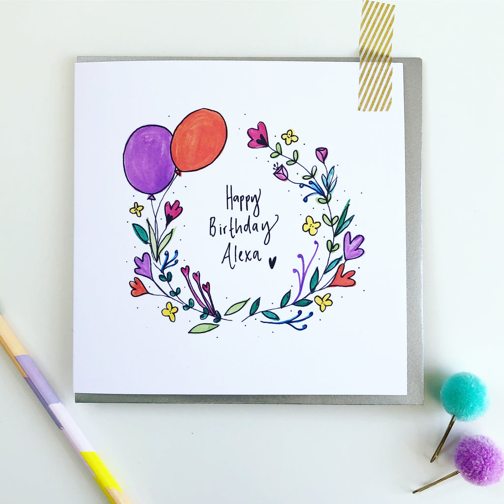 Personalised Wildflower Happy Birthday card for friend