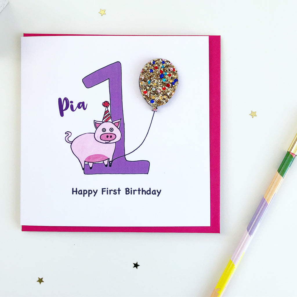 Personalised First Birthday pig card with glittery balloon