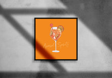 Load image into Gallery viewer, Aperol Spritz illustration square cocktail print