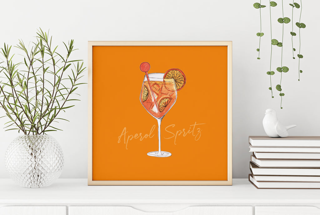 Aperol Spritz illustration square cocktail print