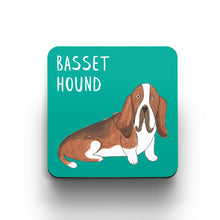 Load image into Gallery viewer, Illustrated Basset Hound drinks coaster