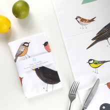 Load image into Gallery viewer, Illustrated garden birds tea towel