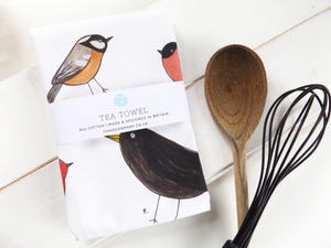 Illustrated garden birds tea towel