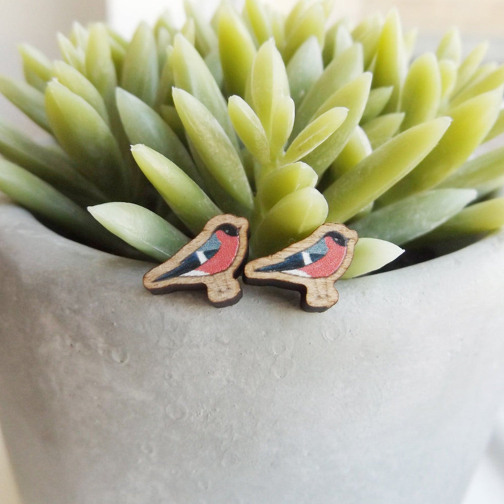 Handmade wooden Bullfinch bird earrings