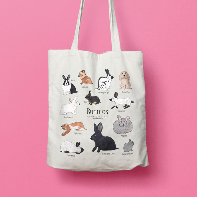 Bunnies tote bag - illustrated rabbit tote bag
