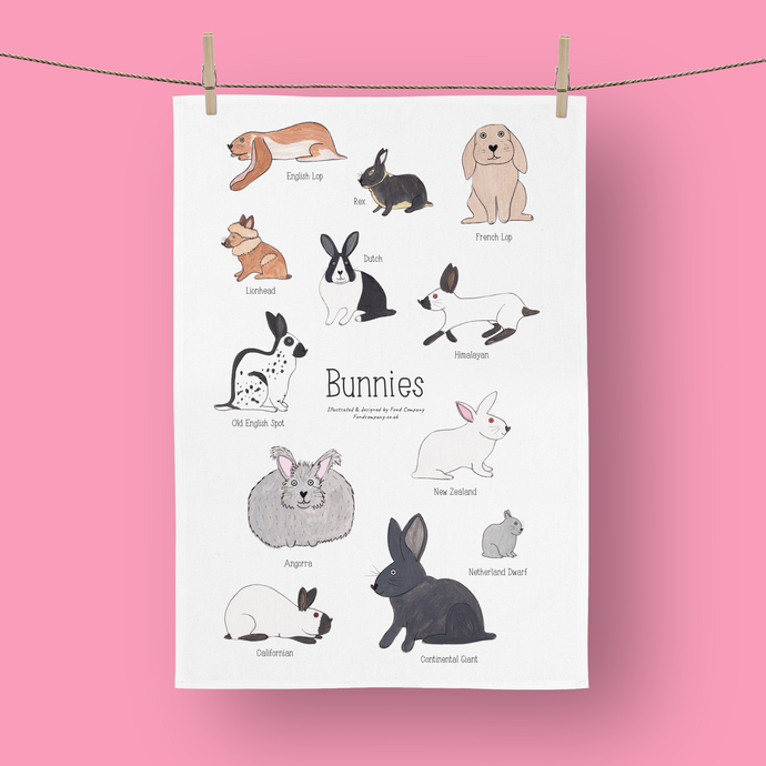 Bunnies illustrated rabbit tea towel