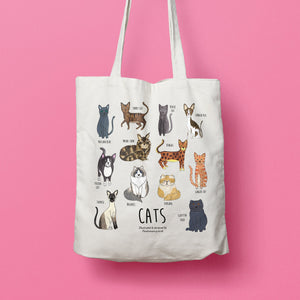 Cat tote bag - illustrated cat tote bag