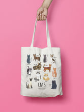 Load image into Gallery viewer, Cat tote bag - illustrated cat tote bag