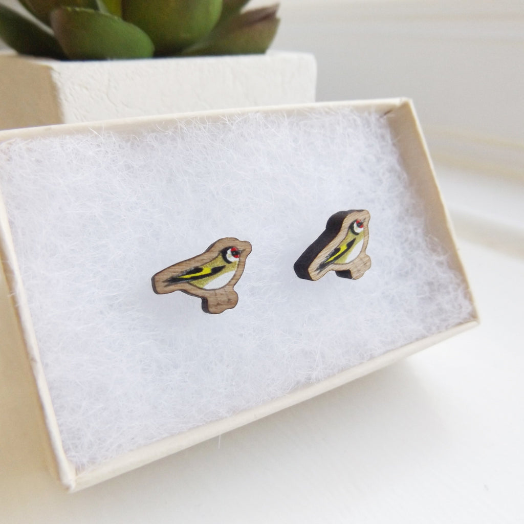 Handmade wooden Goldfinch bird earrings