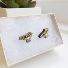 Load image into Gallery viewer, Handmade wooden Goldfinch bird earrings