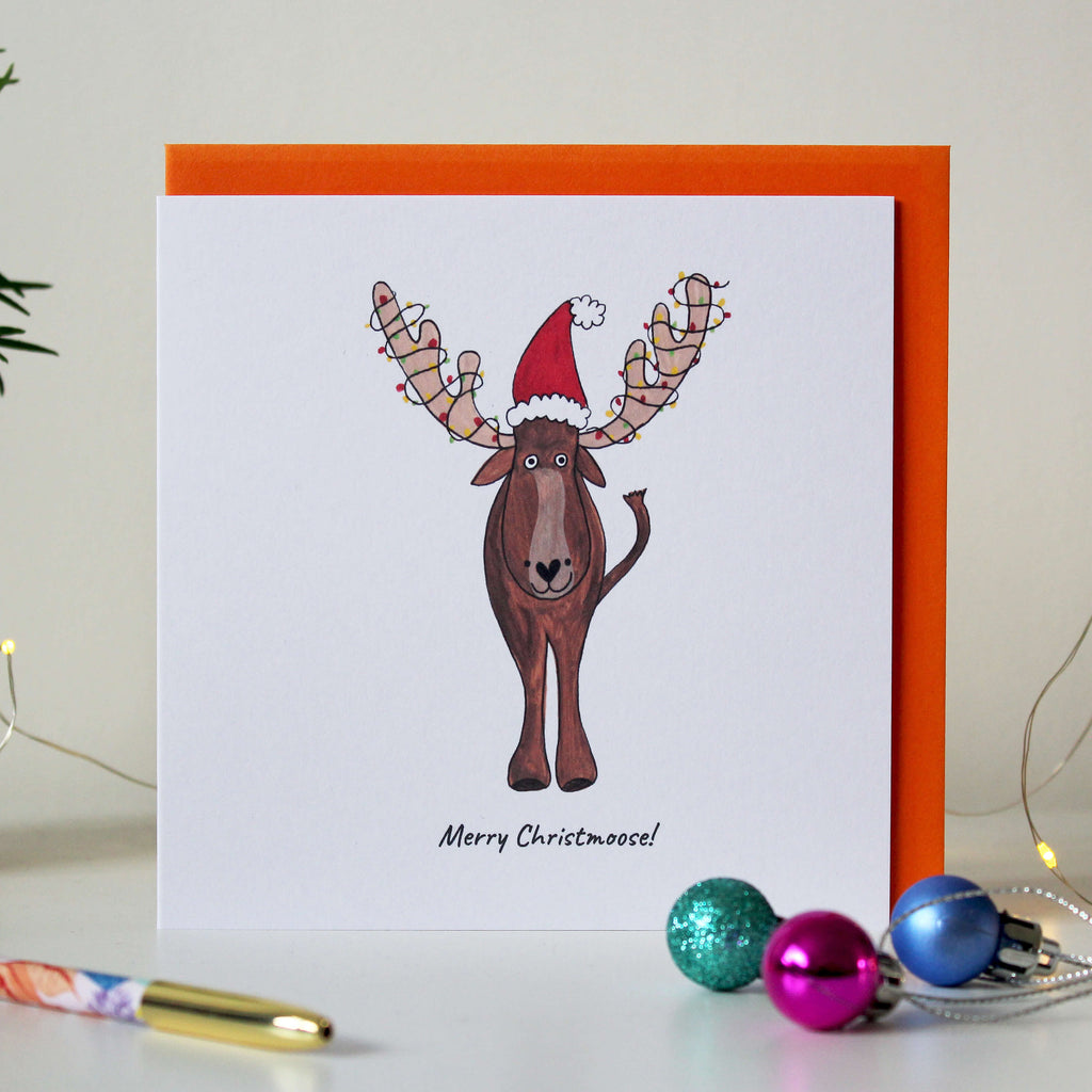 SALE - 'Merry Christmoose' funny Moose Christmas card