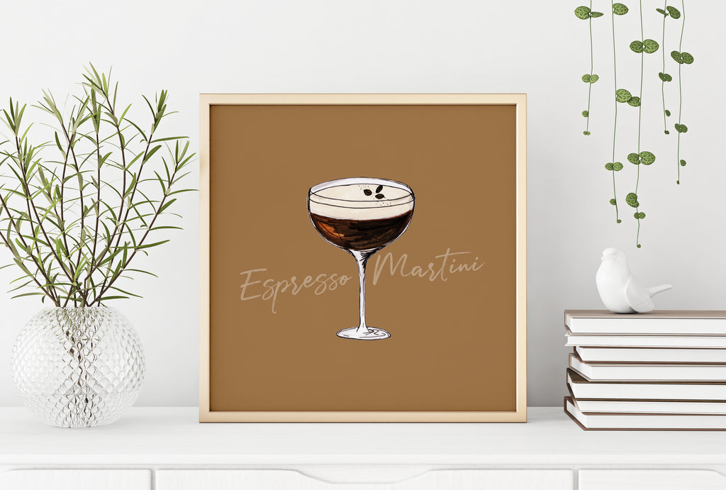 Espresso Martini illustration square cocktail print
