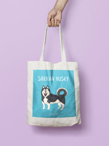 Illustrated Husky tote bag