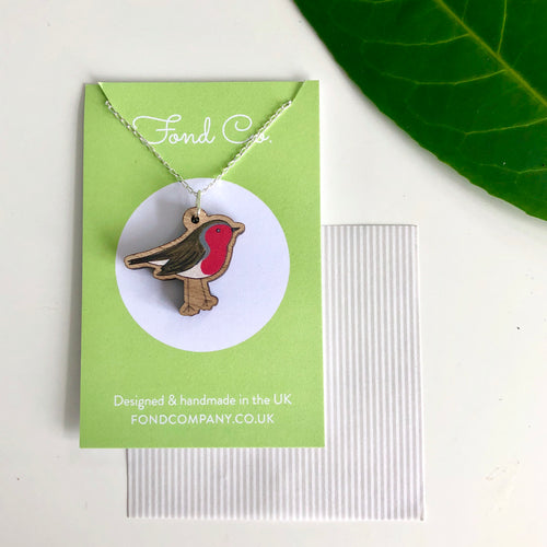 Handmade wooden Robin necklace