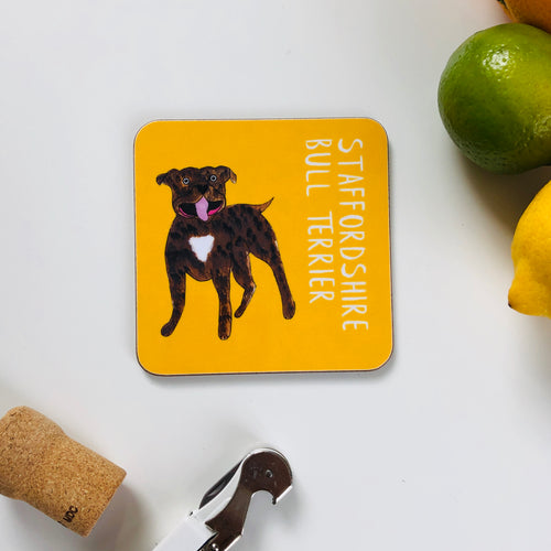 Illustrated Staffordshire Bull Terrier drinks coaster
