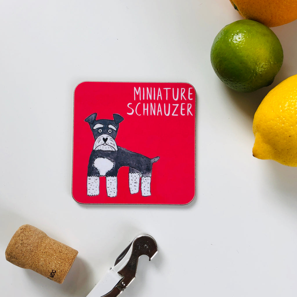 Illustrated Miniature Schnauzer drinks coaster
