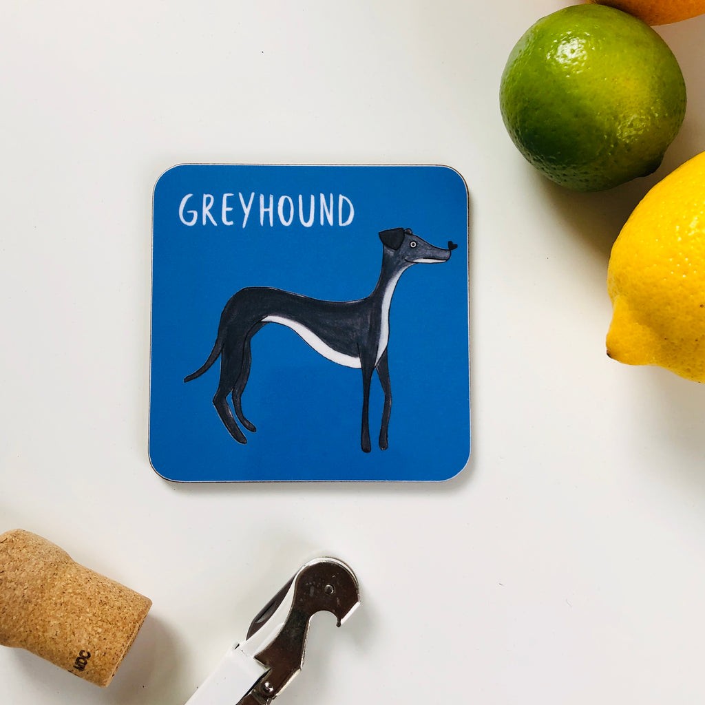 Illustrated Greyhound drinks coaster