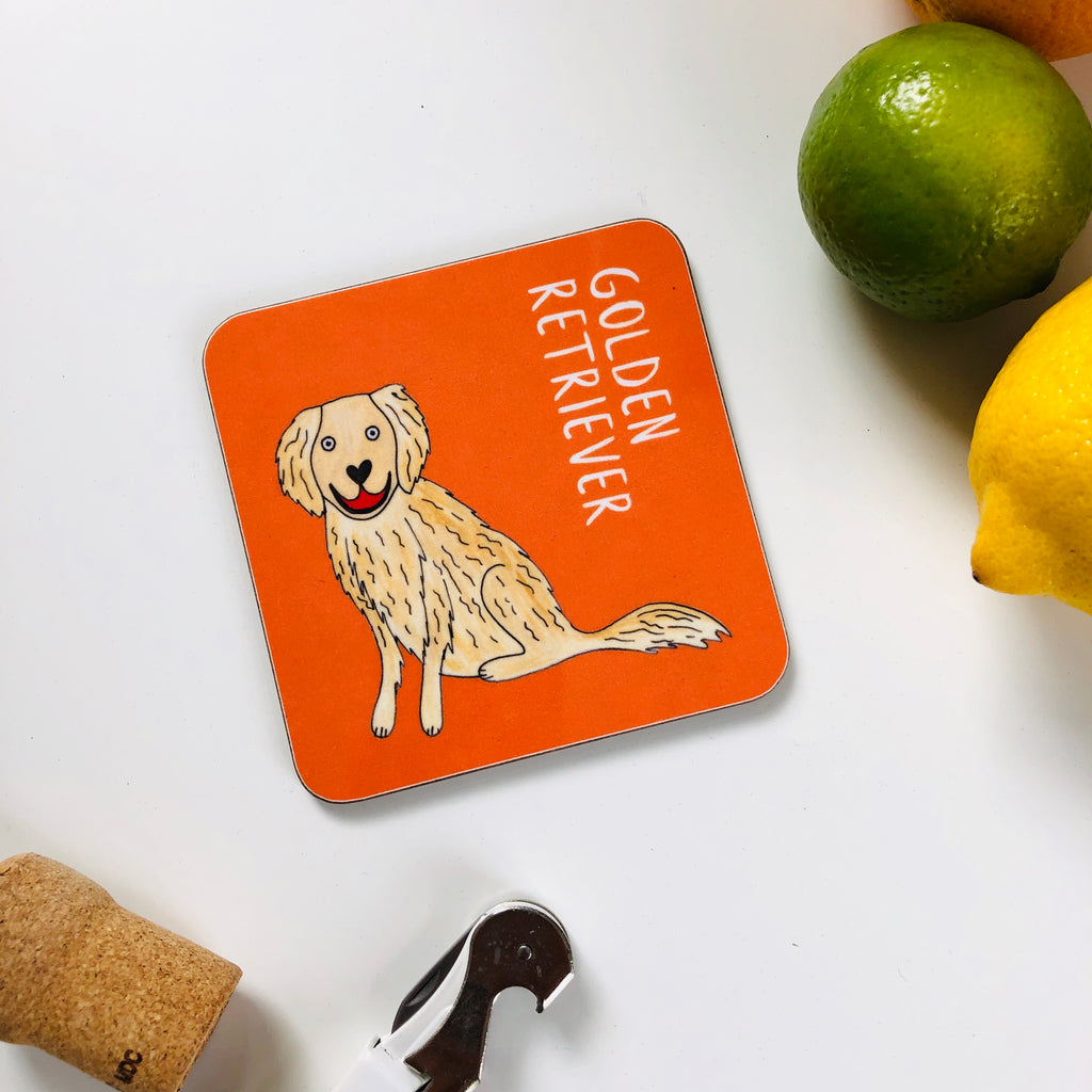 Illustrated Golden Retriever drinks coaster
