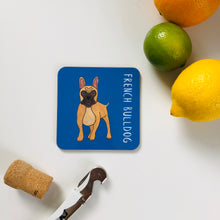 Load image into Gallery viewer, Illustrated French Bulldog drinks coaster