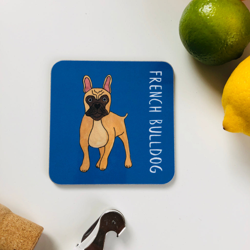 Illustrated French Bulldog drinks coaster