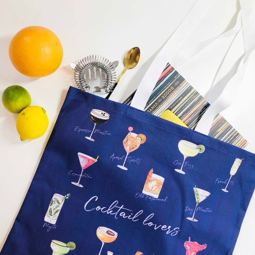 Cocktail lovers tote bag - illustrated cocktails tote bag
