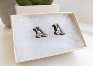 Handmade wooden Magpie bird earrings