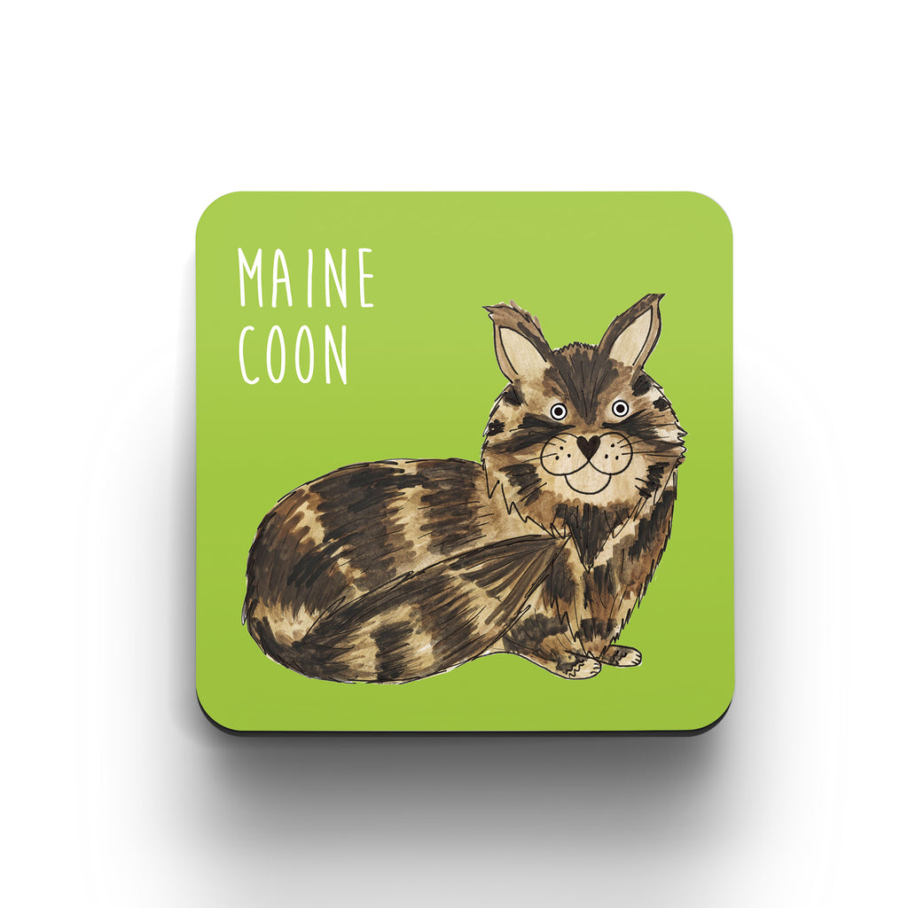 Illustrated Maine Coon cat cute cat coaster