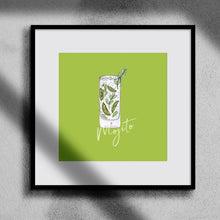 Load image into Gallery viewer, Mojito illustration square cocktail print