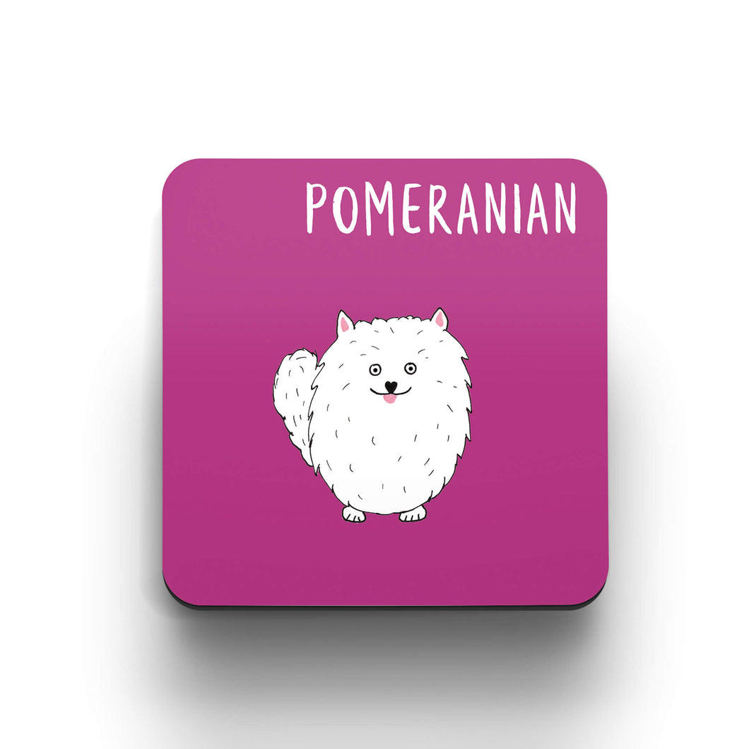 Illustrated Pomeranian Drinks Coaster - Dog lover gift
