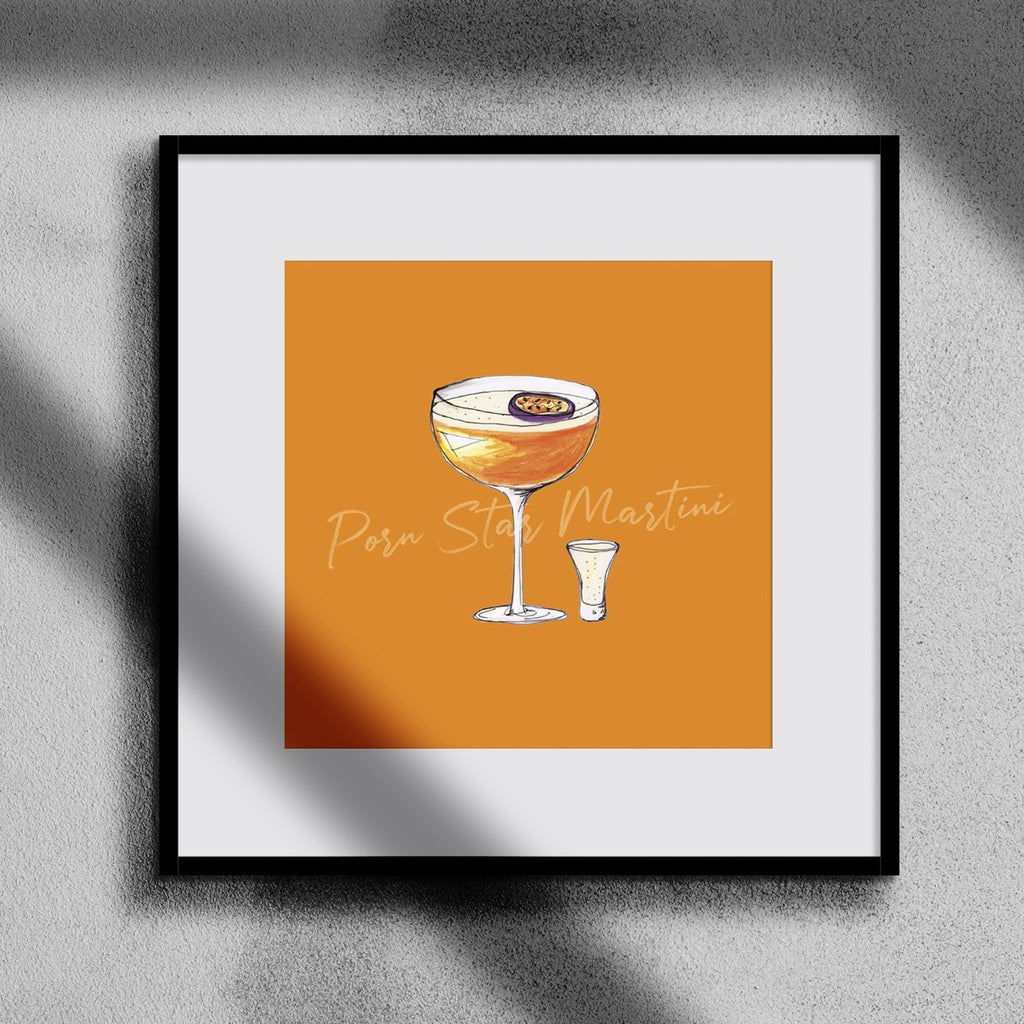 Porn Star Martini illustration square cocktail print