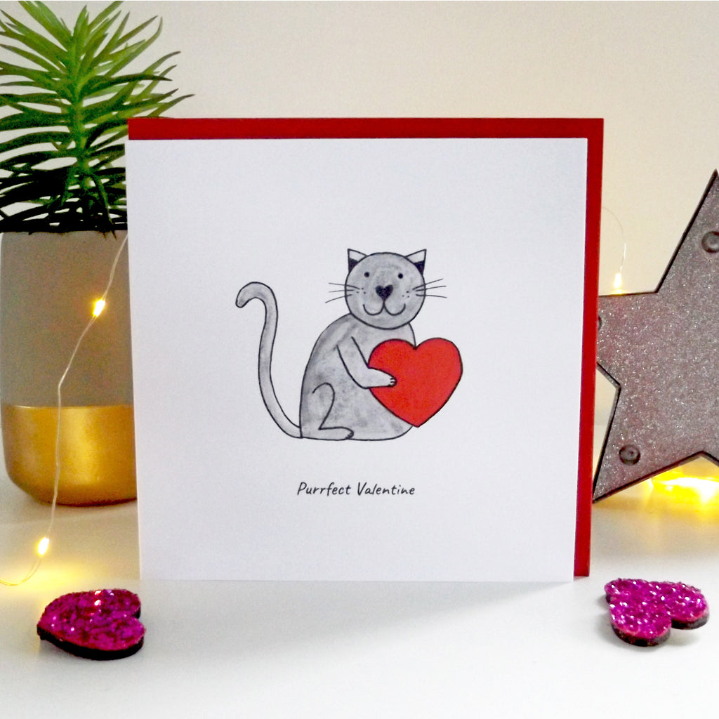Purrfect Valentine - funny cat valentine's card