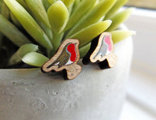 Load image into Gallery viewer, Handmade wooden Robin earrings