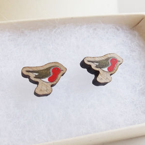 Handmade wooden Robin earrings